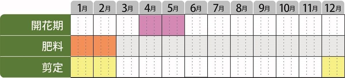 ニシキギアンフォゲッタブルファイヤー栽培カレンダー