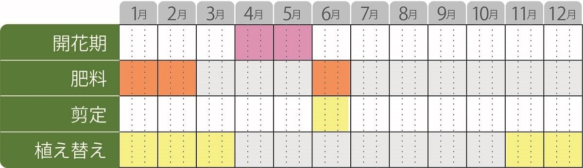姫ライラック栽培カレンダー